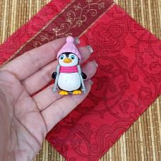 """Силиконовая форма №826 """"Пингвин в шапке""""-мини"""
