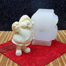 """Силиконовая форма №930 """"Дед Мороз с подарком"""""""